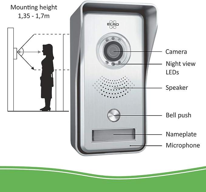 Color Night Vision ELRO DV477IP Wifi IP videoportero con pantalla a color de 7 pulgadas Vista en vivo y comunicaci/ón a trav/és de la aplicaci/ón