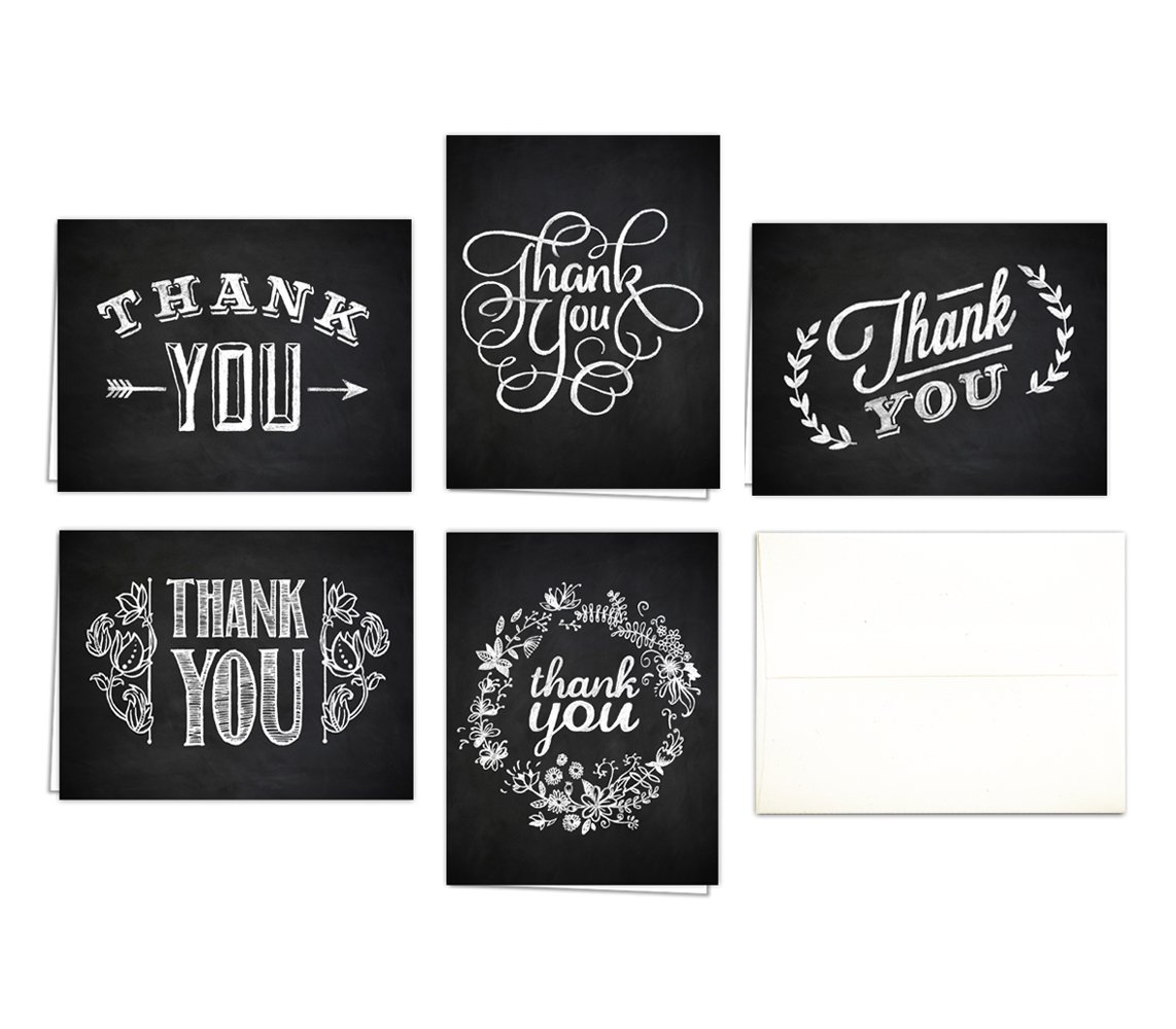 Chalk Art Thank You Cards (Set of 10 Thank You Cards + Natural White Envelopes) - 5 Unique Designs - By Palmer Street Press