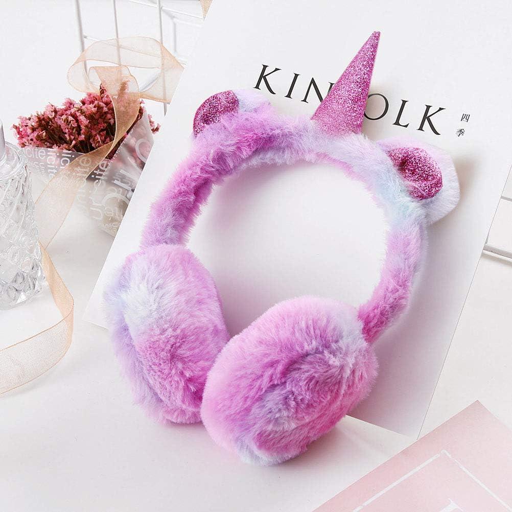 colore casuale Lurrose Cuffie soffici per bambini Furry Peluche Cuffie invernali per unicorno Felp peluche per bambini