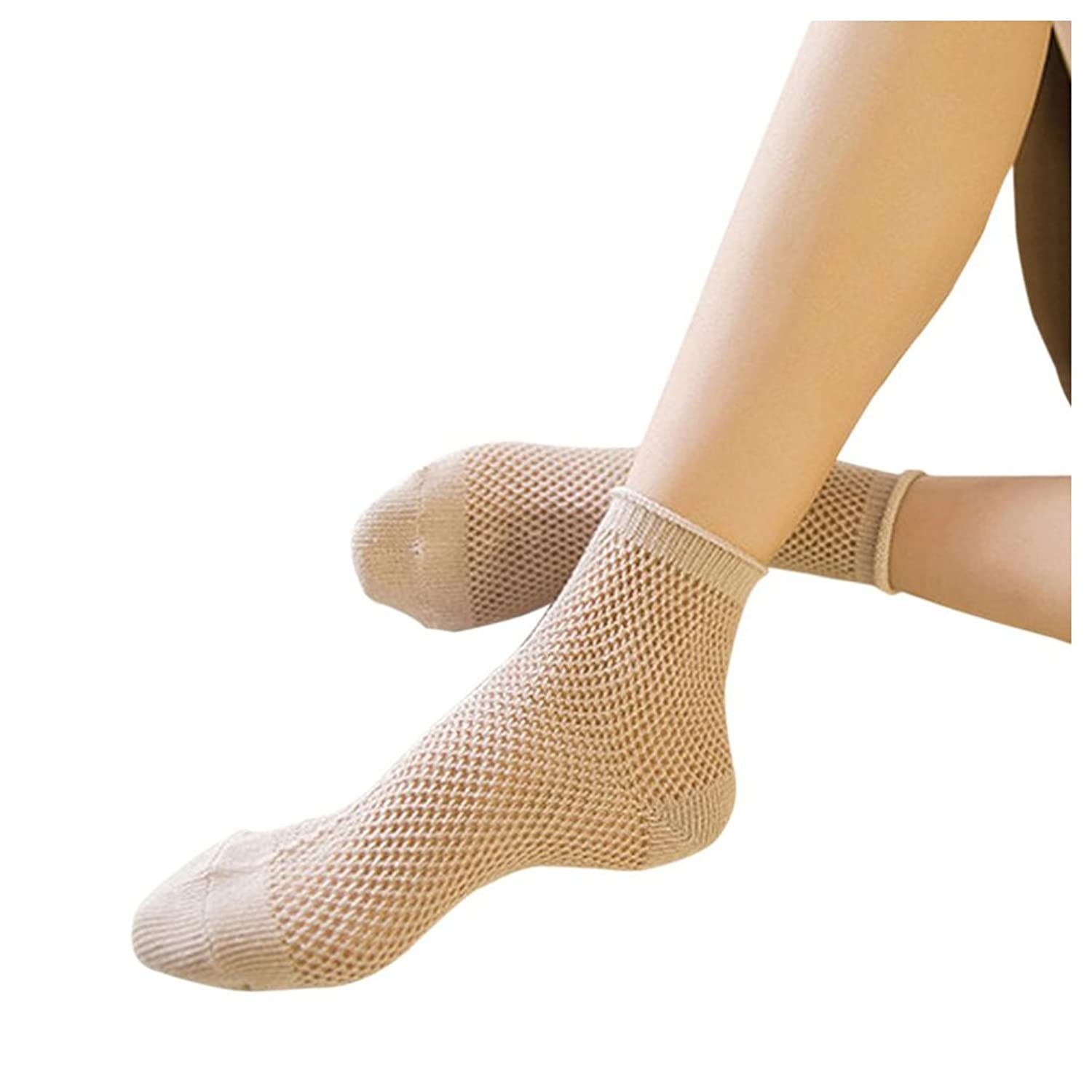 Women Fishnet Socks Inkach Girls Lace Hollow Ruffle Fishnet Ankle High Socks Mesh Lace Fish Net Short Socks