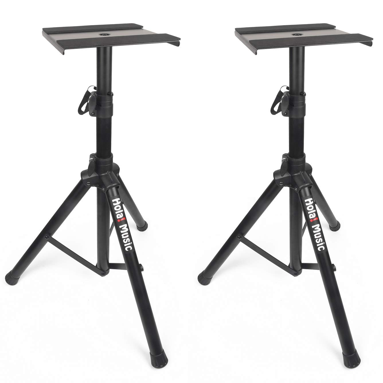 PAIR of Studio Monitor Speaker Stands by Hola! Music, Professional Heavy-Duty Tripod Structure, Adjustable Height, Model HPS-600MS by Hola! Music (Image #1)