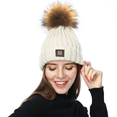 b8569ac0fab JULY SHEEP Womens Girls Winter Hat Wool Knitted Beanie Rib Knit Hat Faux Pom  Pom Bubble Hat  Amazon.co.uk  Clothing