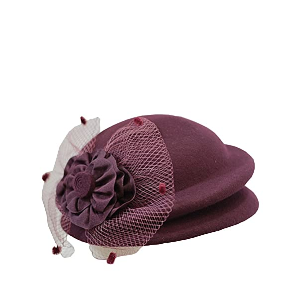 1930s Style Hats | Buy 30s Ladies Hats NE Norboe Double Layer Pillbox Hats Wool Church Hat Beret Stewardess Cap Flower Veil for Womens $19.99 AT vintagedancer.com