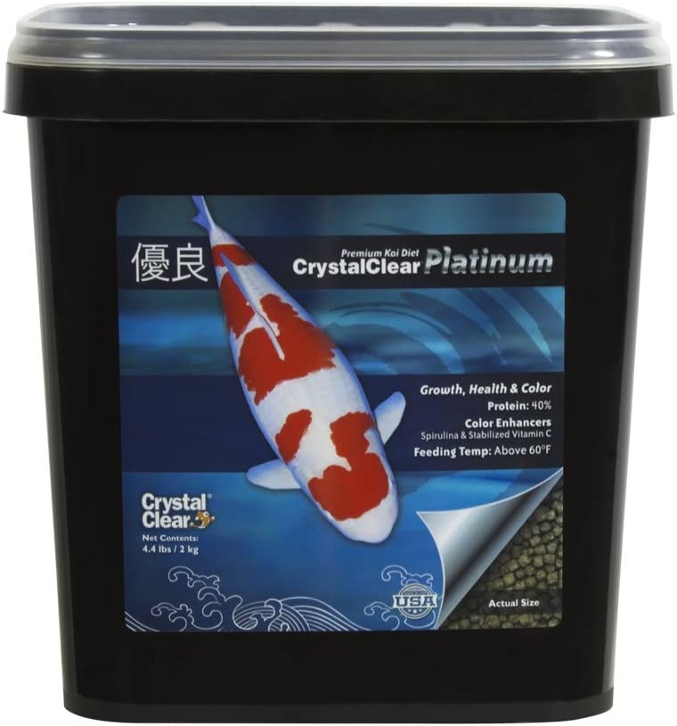 CrystalClear Platinum Rapid Growth Koi Fish Food with Added Vitamins & Spirulina, 3mm Pellets, 4.4 Pounds