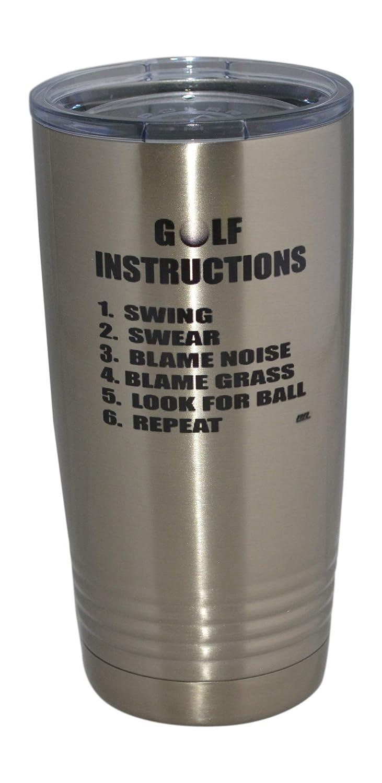 面白いゴルフの説明書 20オンス トラベルタンブラーマグカップ 蓋付き 真空断熱 ホットまたはコールド ゴルファー お父さん おじいちゃん ボール B07MG76B3P
