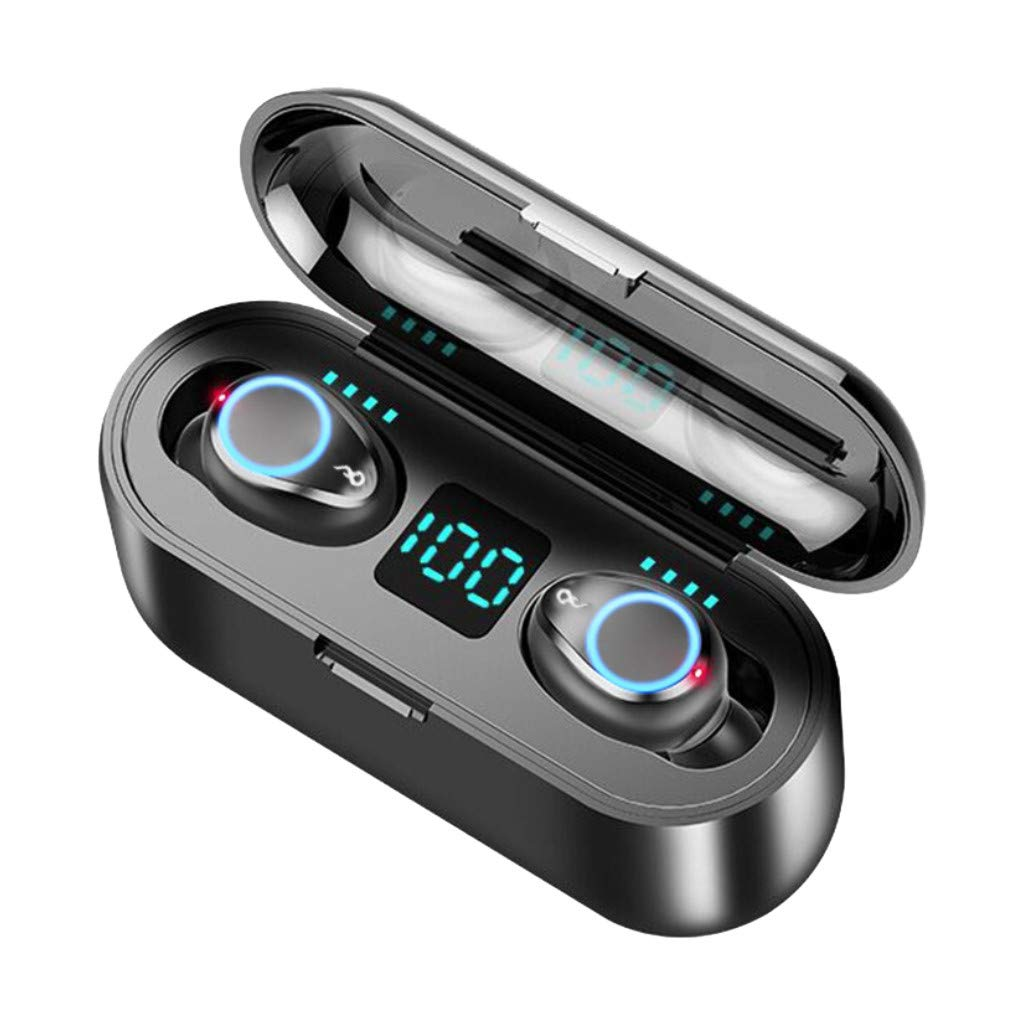 Barcley Wireless Headphones, Bluetooth 5.0 True Earbuds Deep Bass Stereo Sound Bluetooth Earphones Mini in-Ear Binaural Call Headsets with IPX7 Waterproof and Charging Case for Smart Phones (Black)