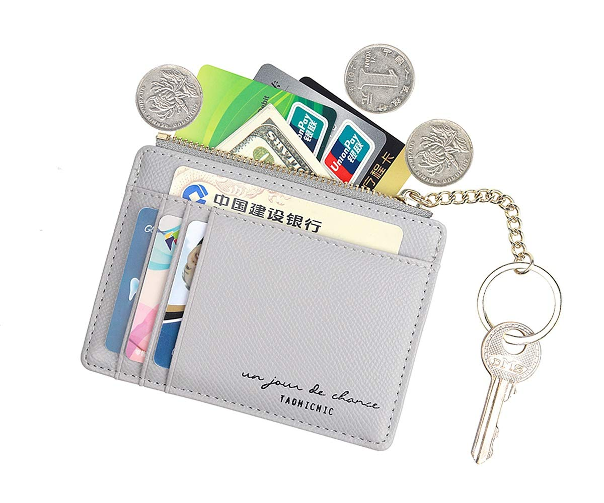 Women Slim Leather Card Case Holder Small Wallet Cute Coin Purse Girl Mini Wallet with Keychain (A-Grey)