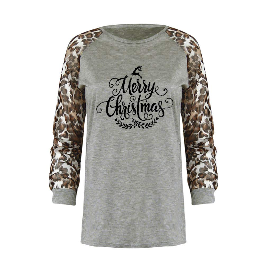 Merry Christmas Tee Shirts Womens Christmas Letter Printed Long Sleeve Leopard Fashion Plus Size Tops
