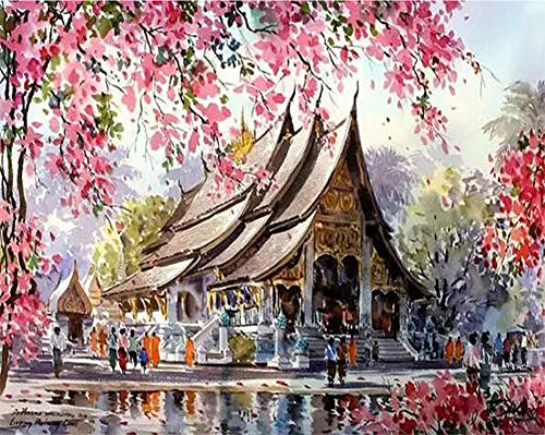 ABEUTY DIY Paint by Numbers for Adults Beginner - Peach Blossom & Temple 16x20 inches Number Painting Anti Stress Toys (Wooden ()