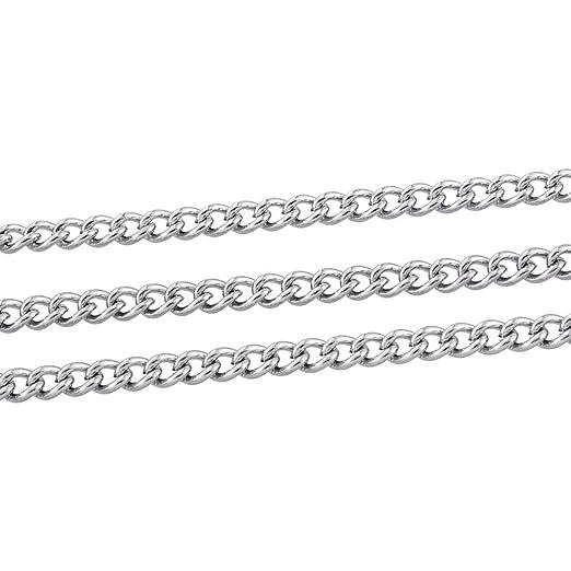 10 m, 5 x 3,5 mm Cadena de eslabones cruzados de acero inoxidable color plateado Shengyaju