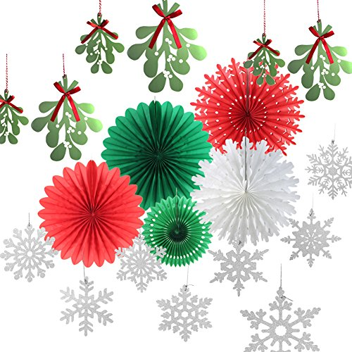 SUNBEAUTY Christmas Color Paper Fans Decorations Kit Mistletoe Garlands Glitter Silver Snowflake Ornaments Winter Xmas Party Supplies 14 Pieces (Red Green -
