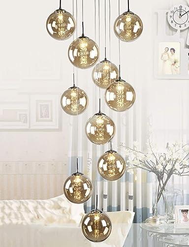 Size : 10 Balls Multi Boules en Verre Escalier Lustre Long Pendant Light Duplex B/âtiment Grand Lustre Salon Villa Moderne Minimaliste Escalier Lampe plafonnier Abat-Jour en Verre Couleur Champagne