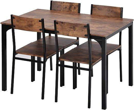 Xueliee Juego de mesa de comedor y silla, 4 marcos de madera, estilo industrial, estilo retro, juego de mesa de comedor (marrón rustico): Amazon.es: Jardín
