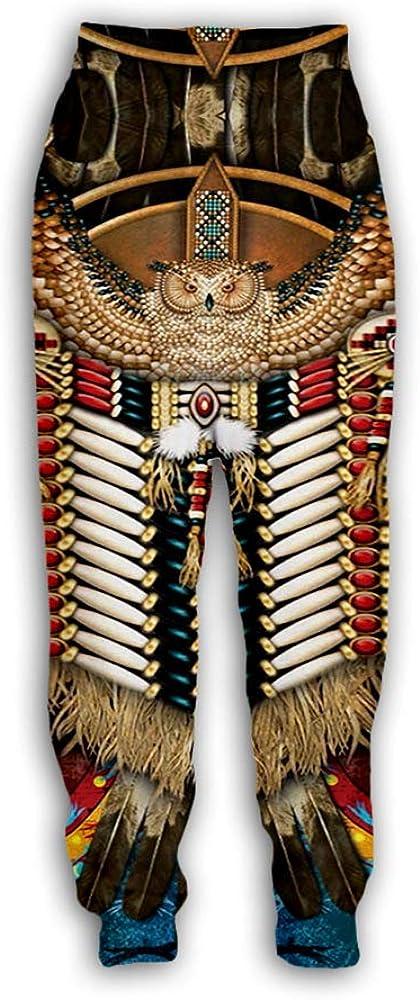 huateng Pantalones de chándal Unisex - Pantalones de chándal Indios nativos Americanos con Estampado 3D Pantalones de Patrones de tótems étnicos