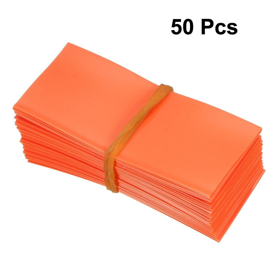 Sourcing map Lot de 50 tubes plats en PVC thermor/étractables de 23 mm pour piles AA Orange