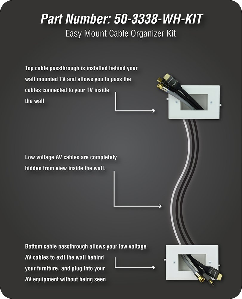 Datacomm 50 3338 Wh Kit Easy Mount Cable Organizer White Wall Tv Wiring Diagram Home Audio Theater
