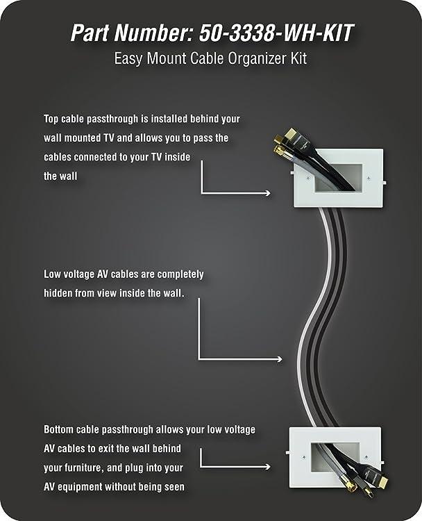 Datacomm Electronics 50-3338-WH-KIT Easy Mount Cable Organizer Kit ...