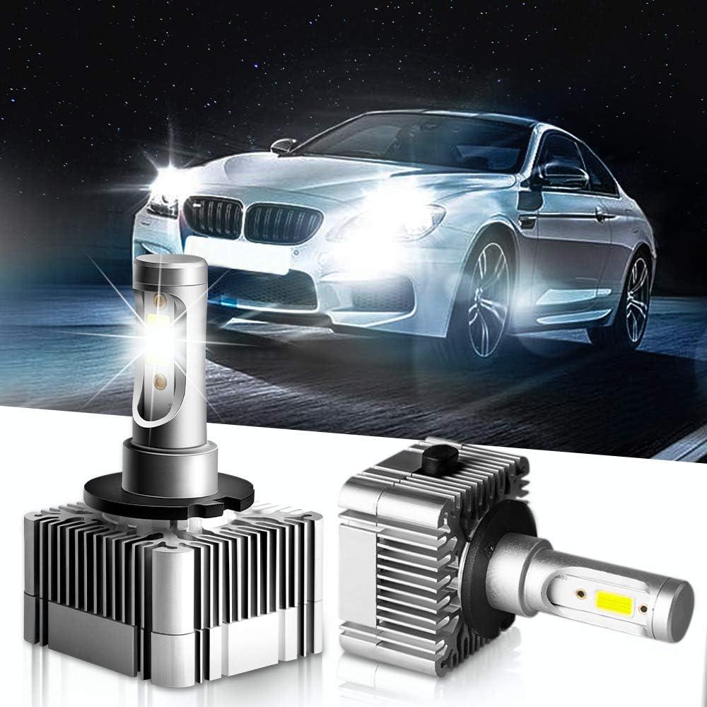 Carrep D1S/D1R D3S/D3R LED Headlight Bulb Repalcement for Osram or Philips 12V Head Lights, 2 PACK (D1S/D3S LED, 6000K)