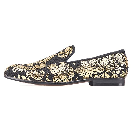 Men's Taetae Slip-on Loafer with Gold Prints Fabric Smoking Flat