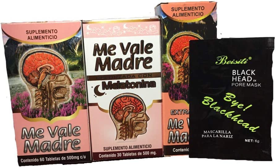 Me Vale Madre 60 Cap y Me vale Madre Melatonina 60 Cap, Mas Extracto Me vale Madre Headache Migraine & Stress, Dolor De Cabeza,estres (Charcoal mask Included)
