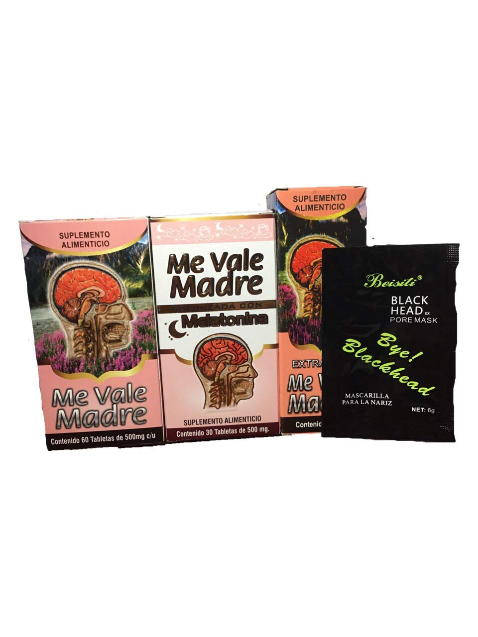 Amazon.com: Me Vale Madre 60 Cap y Me vale Madre Melatonina 60 Cap, Mas Extracto Me vale Madre Headache Migraine & Stress, Dolor De Cabeza,estres (Charcoal ...