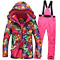 HOTIAN Women's High Windproof Technology Colorfull Printed Snowboard Clothing Ski Jacket and Pants Set