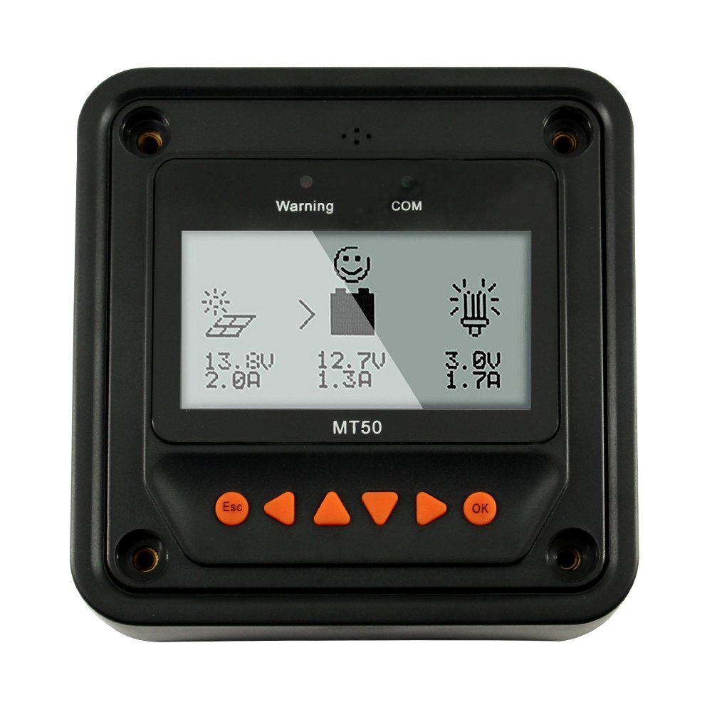 EPEVER MT50 LCD Display Remote Meter, Only Suitable Tracer-A/an/BN Series10-100A and Gomate Series Charge Controller, NOT FIT for Other Brand Controller by EPEVER