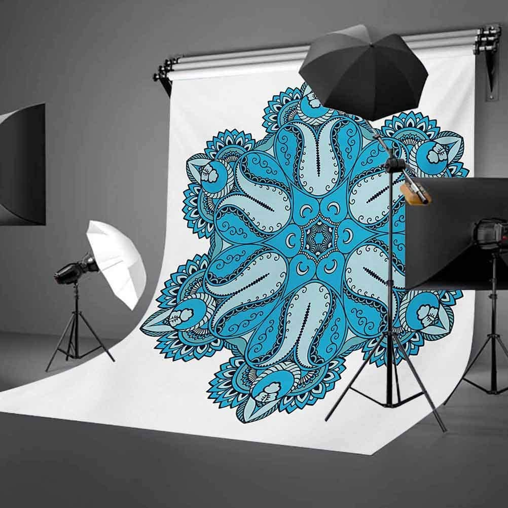 10x15 FT Photo Backdrops,Old Aged Mehndi Artisan Occult Power Symbol with Tulip Petal and Crescent Moons Design Background for Party Home Decor Outdoorsy Theme Vinyl Shoot Props Blue
