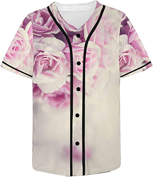 INTERESTPRINT Mens Button Down Baseball Jersey Letter Print with Roses and Slogan