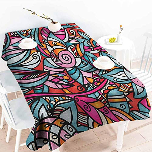 (EwaskyOnline Fashions Rectangular Table Cloth,Abstract Colorful Florals Sunflower Mosaic Curl Ornaments Stained Glass Inspired Design,Resistant/Spill-Proof/Waterproof Table Cover,W60x120L, Multicolor)
