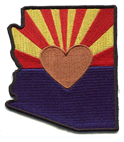 Heart In Arizona Patch -The AZ state flag in the state shape with a copper heart in place of the Star. Instant application applique with a sticky-back, No ironing required. Apply to clothing, coolers. (Button Applique Decorative Flag)