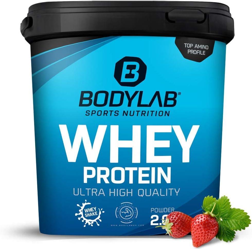 Bodylab24 Proteína Whey 2kg   Proteína de suero en polvo para antes y después del entrenamiento   Para batido de proteínas para masa muscular   80% ...