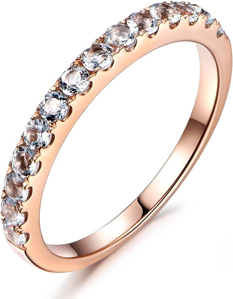 Half Eternity Ring Anniversary Band Gift Gemstone Wedding Band March Birthstone Aquamarine Stackable Ring Aquamarine Half Eternity Ring