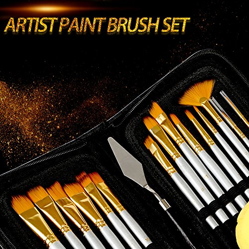 (Kesoto Paint Brush Set - 15 Different Shapes & Sizes - Free Painting Knife & Watercolor Sponge - No Shed Bristles - Wood Handles - for Body Paint, Acrylics & Oil)