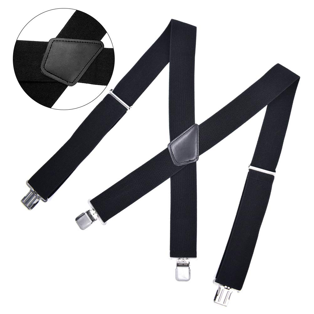 Black Lurrose 1pc Mens Suspenders Wide Adjustable and Elastic Braces X Shape with Very Strong Clips