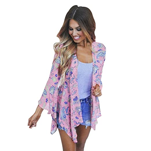 ba1a35c69 GBSELL Women's Hippie Boho Floral Print Pink Shawl Kimono Cardigan Cover up  Blouse ...