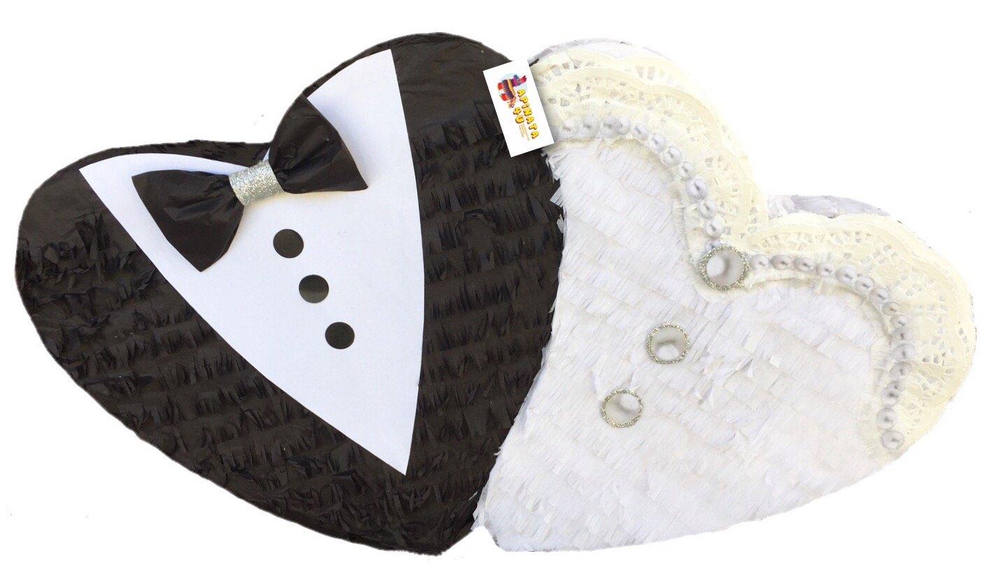APINATA4U Bride & Groom Double Heart Pinata Wedding Pinata Bridal Shower Card Holder