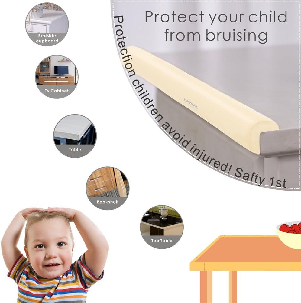 Tritina protectores de esquina y amortiguadores de borde Protector superior de Childproofing,seguridad de ni/ño,seguridad casera Mamami 6.5ft coj/ín de borde + 4 coj/ín de esquina Marr/ón 2.2m // 7ft