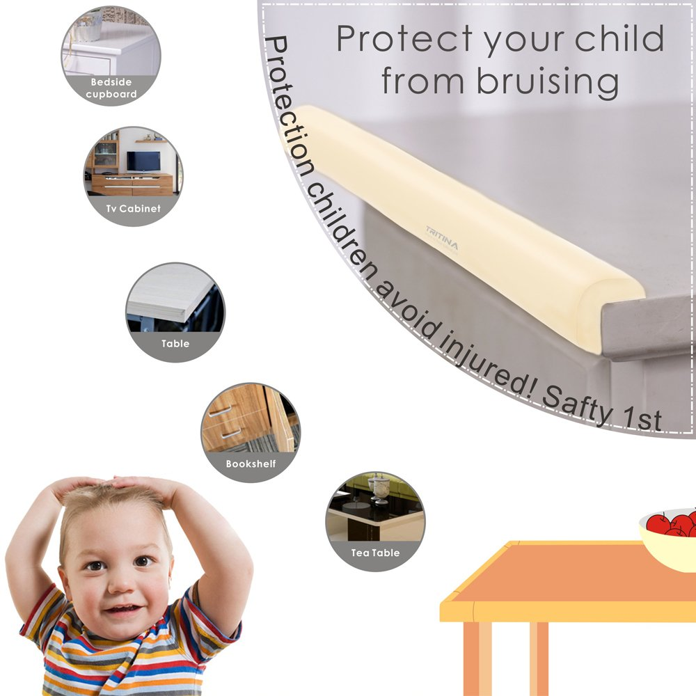 Home Safety Mamami Tritina Corner Guards and Edge Bumpers 6.5ft Edge Cushion + 4 Corner Cushion Premium Childproofing Protector Child Safety 2.2m // 7ft Black