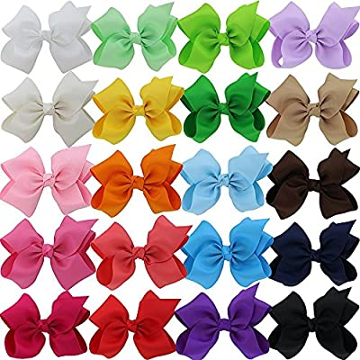 QingHan 3'' 4.5'' 5'' Grosgrain Ribbon Pinwheel Boutique Hair Bows Clips For Baby Girls Teens Toddlers Kids Children