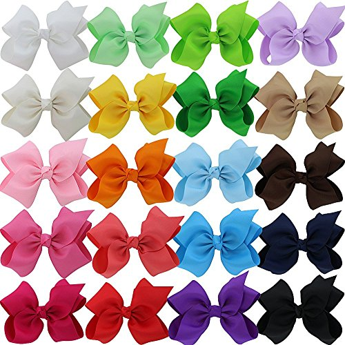 QingHan 20pcs 5'' Baby Girl Headbands Grosgrain Ribbon Boutique Hair Bows Alligator Clips For Babies Teens Toddlers