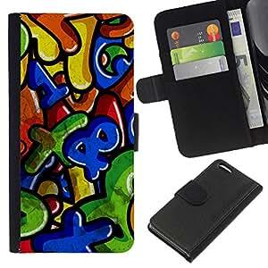 WINCASE Cuadro Funda Voltear Cuero Ranura Tarjetas TPU Carcasas Protectora Cover Case Para Apple Iphone 5C - números coloridos cartas niños