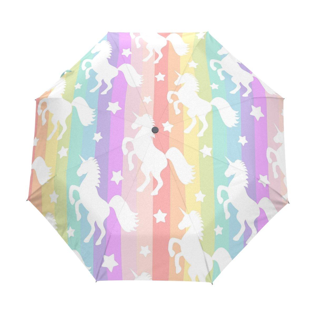 WOZO Cute Unicorn Rainbow Stripe 3 Folds Auto Open Close Umbrella