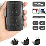 DOACE C11 2000W Travel Voltage Converter for Hair Dryer Straightener, Flat Iron, Set Down 220V to 110V, 10A Power Adapter with 2-port USB, EU/UK/AU/US Plug for Laptop, Camera, Cell Phone