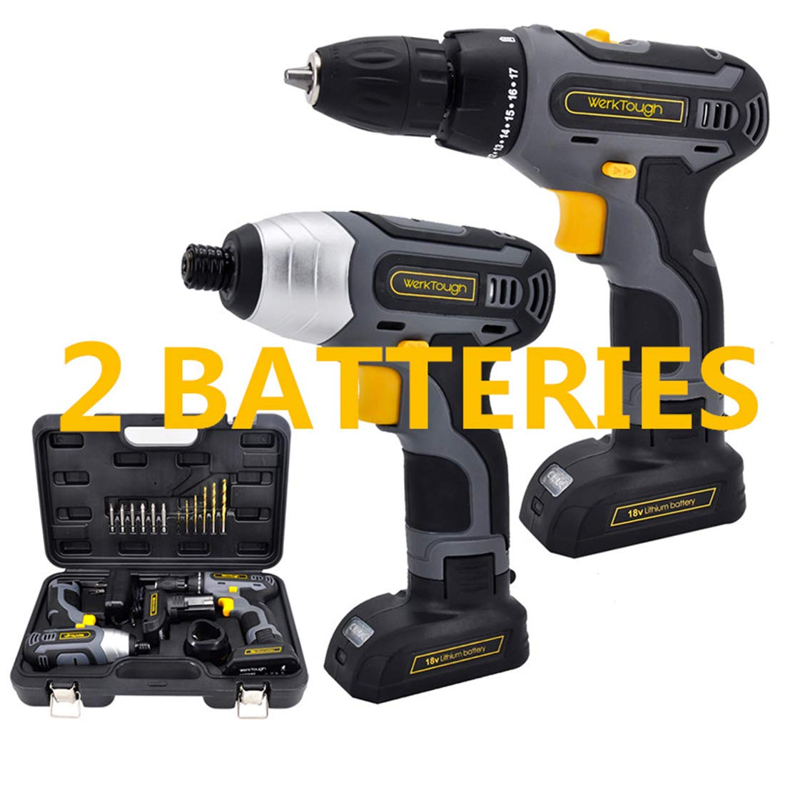 Werktough 17pcs Cordless Drill Driver Impact Screwdriver 1 4 Combo Kit 2 Lion BatterIies Tool Kit Home Improvement Tool Set Cordless Tools Home Repair With Fast Charger