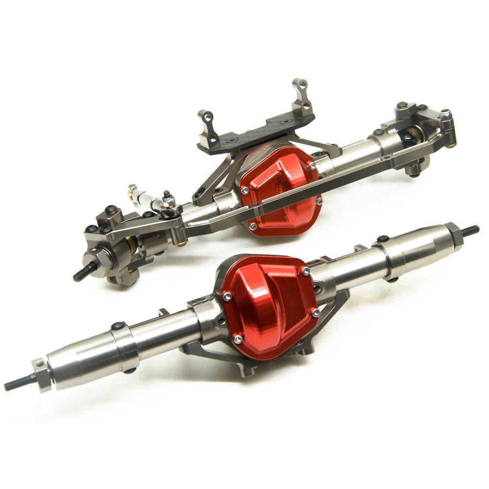 rcスペアパーツ アルミ合金 フロント リア車軸 for 1 10 rc crawler車