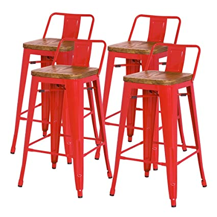 Amazoncom Metropolis Metal Low Back Bar Stool 30 Wood Seatindoor