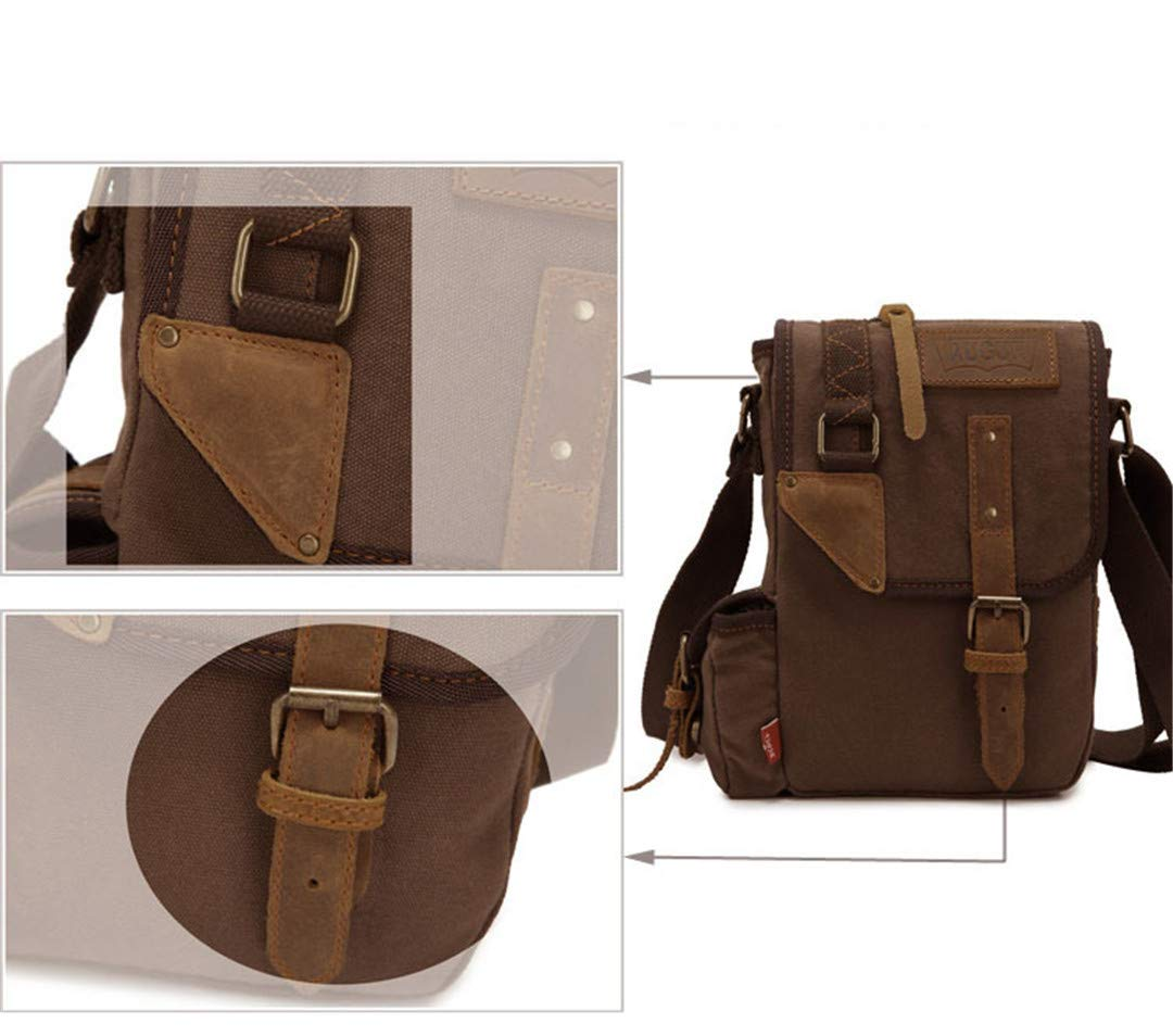 Canvas Leather Crossbody Bag Men Military Army Vintage Messenger Bags Large Shoulder Bag Casual Travel Bags Arm Green