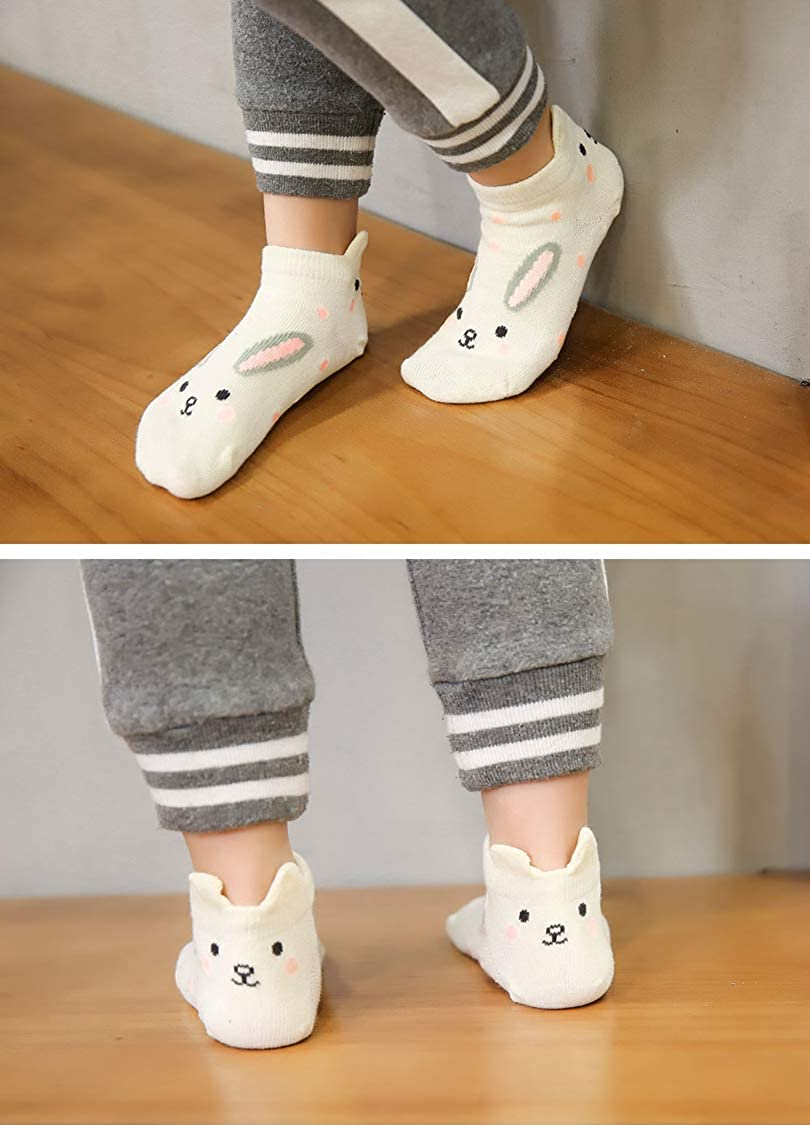 5 pairs Baby Girls Cute Animal Funky Christmas Socks for 2-11 Years Kids Toddler Girls Socks Novelty Cartoon Cotton Ankle Socks