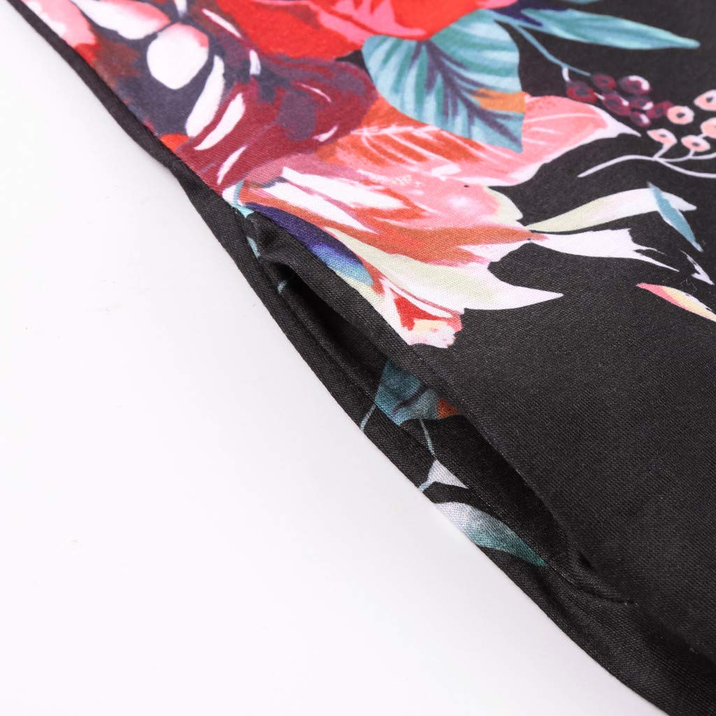 Lloopyting Women's Print Casual Loose Pocket Long Straight Dress Short Sleeve V-Neck Fashion Maxi Dress Black by Lloopyting (Image #8)